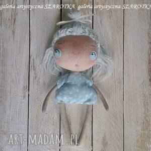 lalka aniołek dekoracje turkusowe - dekoracja tekstylna