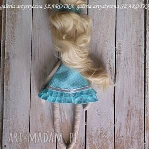 niebieskie dekoracje lalka szmaciana ręcznie wykonana lala - aniołek z doczepianymi