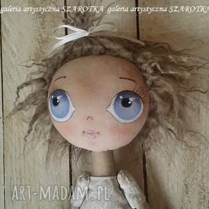 szare lalka szmaciana aniołek - dekoracja tekstylna