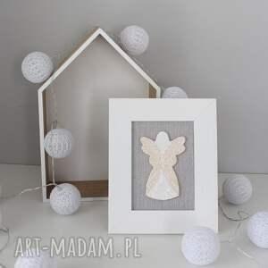 beżowe dekoracje obrazek aniołek stróż anioł ceramiczny