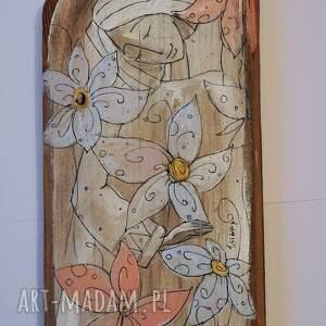 świąteczne prezenty kolorowe deska ręcznie malowana - z kwiatami