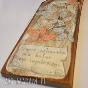świąteczne prezenty deska ręcznie malowana - z kwiatami