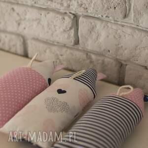 hand made dekoracje zestaw 3 domków wykonanych z bawełny i lnu