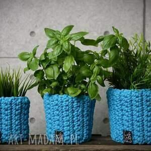 handmade dekoracje doniczka, błękitna
