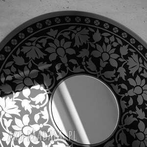 czarne dekoracje lustro duże okrągłe dekoracyjne do