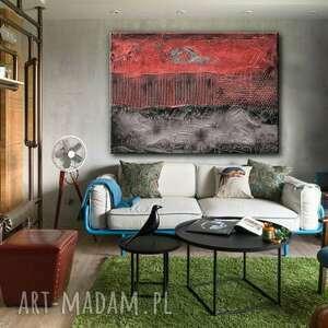 trendy dekoracje czerwona dekoracja duzy obraz do salonu