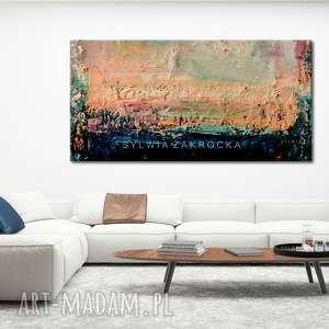 pastelowe kolory dekoracje pomarańczowe duzy obraz do salonu