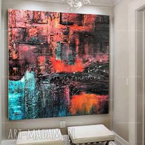 art and texture dekoracje: Duzy obraz kolorowa abstrakcja - turkusowe
