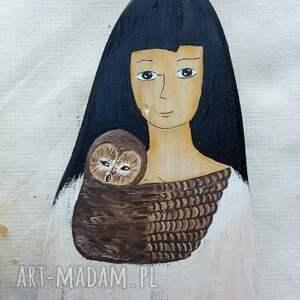 ręczne wykonanie dekoracje malowane dziewczyna z sową malowana