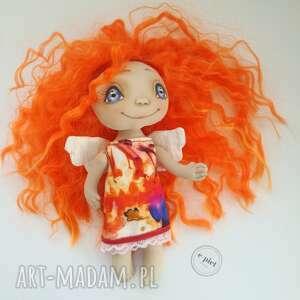 pomarańczowe dekoracje aniołek - figurka tekstylna - ręcznie szyta