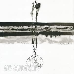 ART Krystyna Siwek dekoracje: grafika 30x40 cm wykonana ręcznie, abstrakcja, elegancki minimalizm, obraz grafiki do salonu