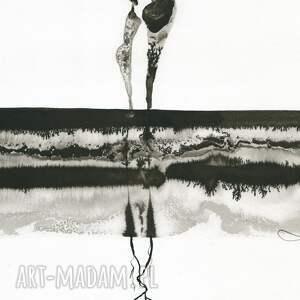 dekoracje: grafika 30x40 cm wykonana ręcznie, abstrakcja, elegancki minimalizm, obraz