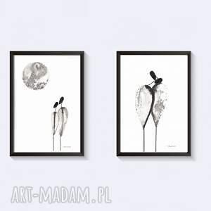 ART Krystyna Siwek dekoracje: grafika czarno biała, plakat A4, ręcznie malowane, minimalizm - obrazy