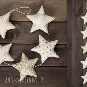pomysł na świąteczne prezenty girlanda gwiazdkowa ecru, 5 gwiazd