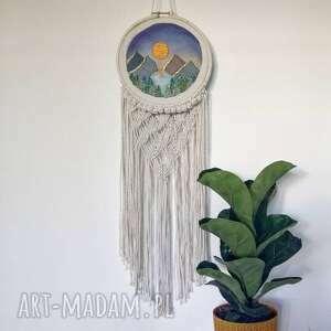 handmade dekoracje makrama haftowana moutains