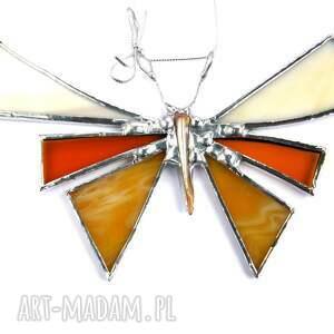 srebrne dekoracje dekoracja witrażowa kartka na życzenia z motylem