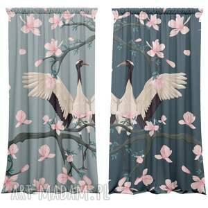 niebieskie dekoracje zasłony komplet bawełnianych zasłon