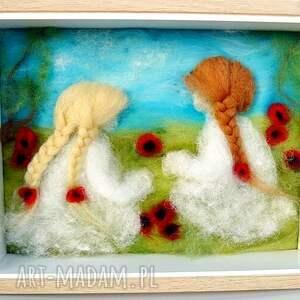 ręcznie wykonane dekoracje maki łąka pełna maków. Obraz z kolekcji