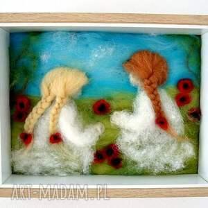 ręcznie wykonane dekoracje obraz łąka pełna maków. Z kolekcji