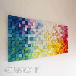 atrakcyjne dekoracje mozaika drewniana, obraz 3d dyfuzja