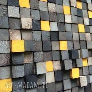 żółte dekoracje obraz mozaika wykonana z sosnowych elementów