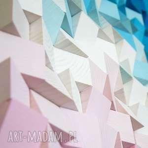 mozaika dekoracje niebieskie drewniana