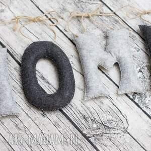 ręcznie robione dekoracje napis home z filcu, hand made