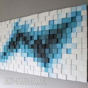 modern dekoracje turkusowe obraz drewniany 3d mozaika