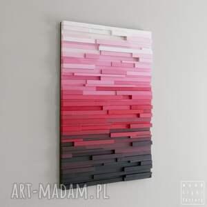 ombre dekoracje czerwone obraz drewniany 3d mozaika
