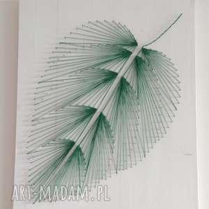 dekoracje drewno obraz: liść, wykonany techniką