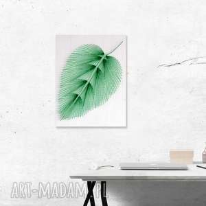 Anna Olszewska Craft Obraz: Liść, wykonany techniką String Art na drewnie minimalizm