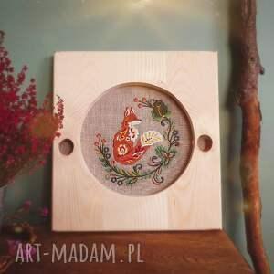 trendy dekoracje obraz obrazek haftowany w ramie z drewna