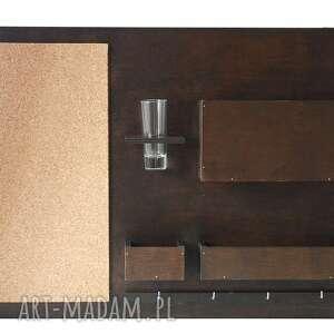 białe dekoracje biurko organizer - 63x45 cm, drewniany