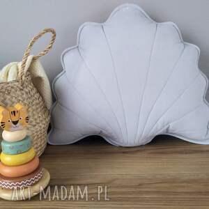ręcznie wykonane dekoracje muszla poduszka dekoracyjna szara