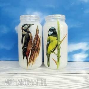 dekoracje ptak ptaki. Dekoracyjne słoiczki