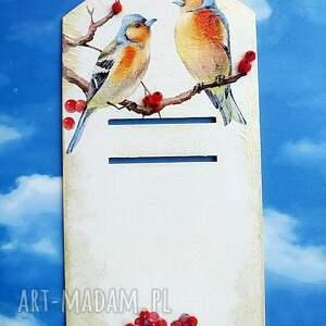 unikatowe dekoracje ptak ptaki. Deseczka na kalendarz