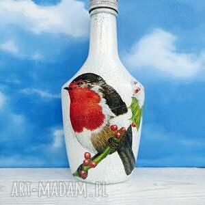 handmade dekoracje ptaki ptaki. Gil. Dekoracyjna butelka
