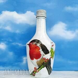 zielone dekoracje ptaki ptaki. Gil. Dekoracyjna butelka