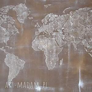 brązowe dekoracje obraz ręcznie malowana mapa świata - 01