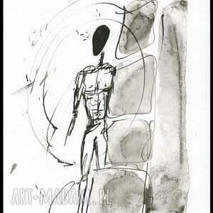 ART Krystyna Siwek ręcznie malowany, abstrakcja, minimalizm, czarno biała, ilustracja, plakat obrazy grafiki