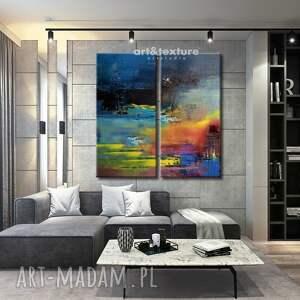 Rozlane niebo - abstrakcyjne obrazy do modnego salonu - modny salon abstrakcyjna dekoracja