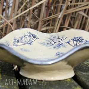 niebieskie dekoracje prezent na nowy dom rustykalna patera ceramiczna