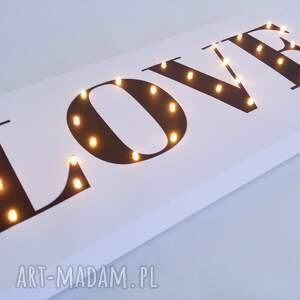 dekoracje: świecący napis love prezent dekoracja dla dziecka ślub