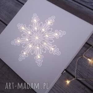 pomysł na prezenty święta świecący obraz led śnieżynka