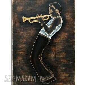 dekoracje jazz trumpet master 3d - duży, drewniany