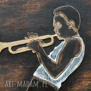 jazz dekoracje trumpet master 3d - duży, drewniany
