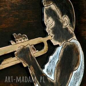 unikalne dekoracje trąbka trumpet master 3d - duży, drewniany
