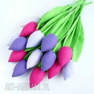 handmade dekoracje kwiaty tulipany - bukiet 10 bawełnianych