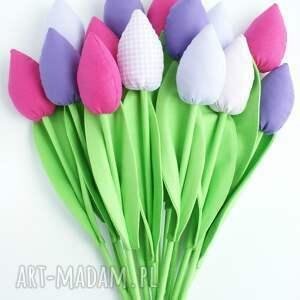 handmade dekoracje tulipany - bukiet 10 bawełnianych