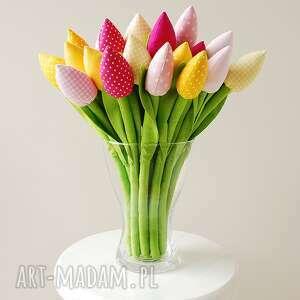 ręcznie robione dekoracje tulipan tulipany - bukiet bawełnianych